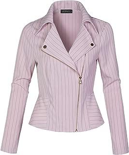 Womens Lighweight Long Sleeve Asymmetrical Striped Blazer Jacket