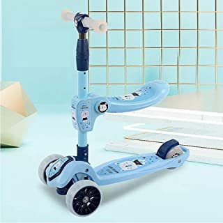 Kick Scooter Ride-On Pedal Cars for Kids Skater Surf Scooter with Flashing Wheels Folding 3 Wheel Adjustable Folding Skate...