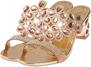 Summer Open Toe Chunky Heels Slipper Women Sandals Rhinestones Party Shoes Girls Crystals Casual Beach Shoes