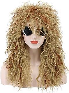 Karlery Men Women Long Curly Orange Mix Blonde 70s Heavy Metal Rocker Mullet Wig 80s Costume Anime Wig