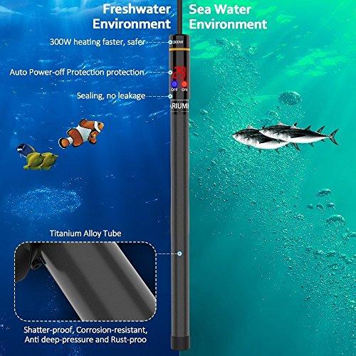WOLFWILL Hochleistung Nato Aquarium Heizung, Heitzung für aquarien freundlich sicher splitterfrei Heizstab für Fische Schildkräte 300W - 5