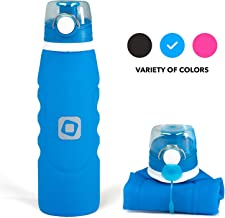 Collapsible Folding Space-Saving Bpa-Free Fda Approved Silicone 35oz Filter Water Bottle by Kean with 2 Stage Integrated Portable Water Filter for Hiking, Sport, Gym, Cycling, Outdoor/Indoor Use