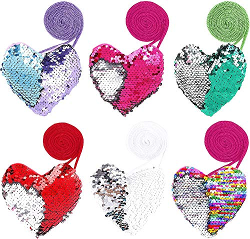 Heart-Shaped Sequined Zipper Wallet, COTEY 6 PCS Heart-Shaped Crossbody Wallet, Mini Children's Sequined Coin Purse, Suitable for Children's Travel Shopping Gathering 12x11.5cm