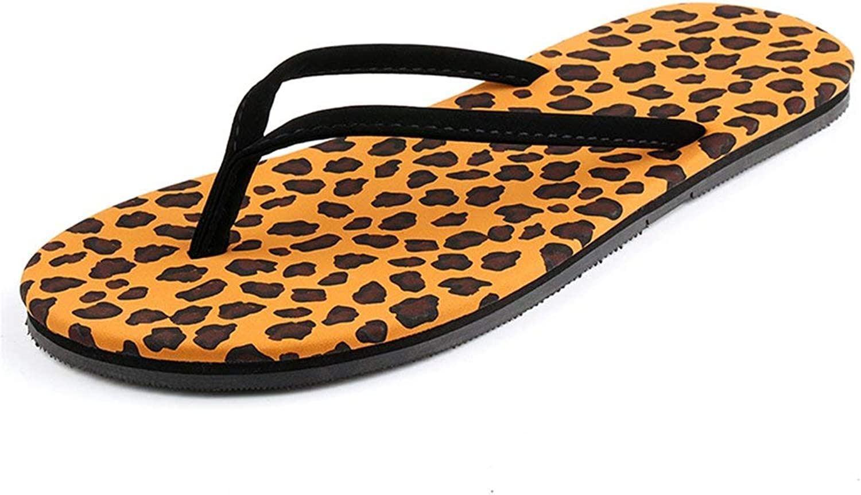 Ghapwe Women's Print Casual Durable Thong Sandals Antiskid Flat Flip Flops Leopard 4 M US