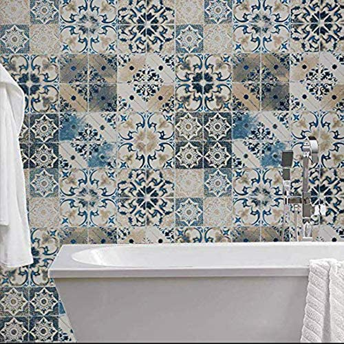 Blue Tile Wallpaper Peel and Stick Wallpaper Stick and Peel Vintage Contact Paper Removable product image