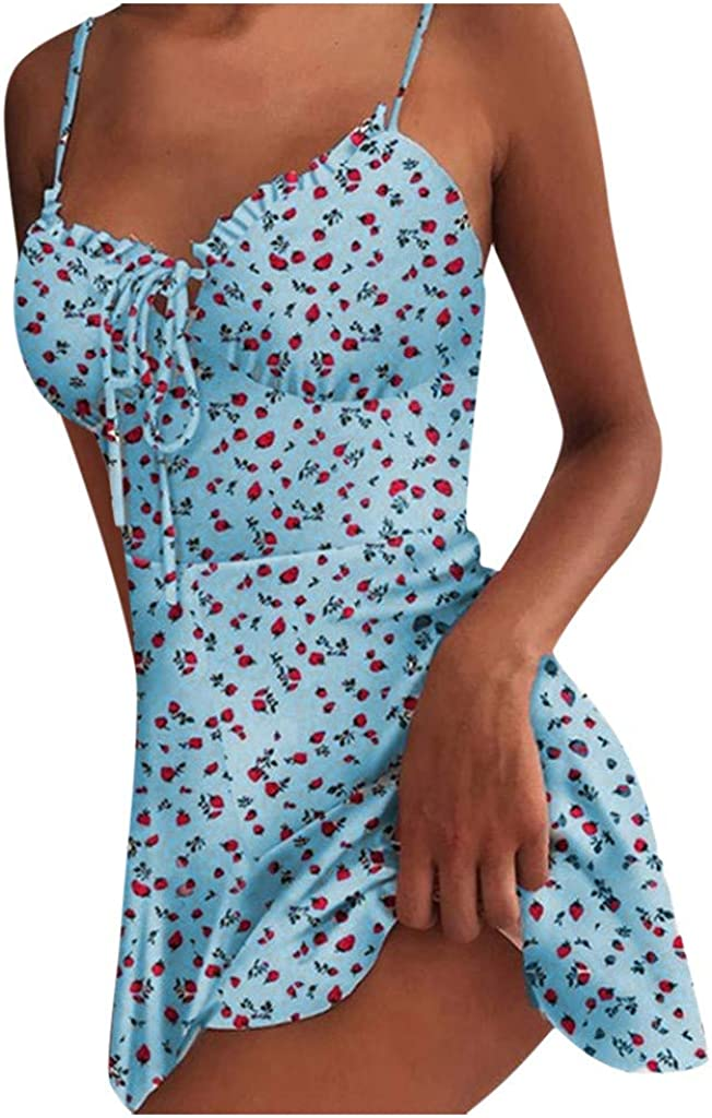 Kaitobe Women's Floral Sexy V Neck Sleeveless Spaghetti Strap Sundresses Casual Summer Dress Ruffle Swing Mini Dress