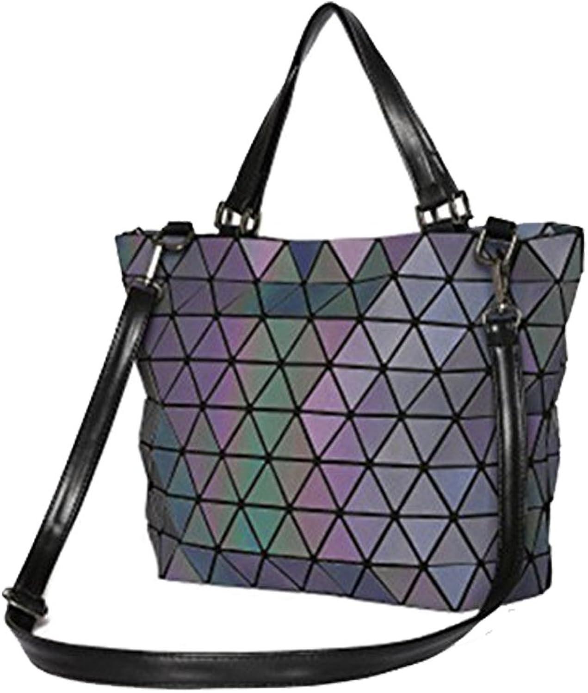 BeautyWJY Women Hologram Tote Shoulder Handbag Geometric Lingge Laser PU Leather Purse