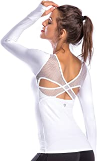 Women's Workout Yoga Long Sleeve Top Slim Mesh Open Back Cross Sports Shirt with Thumb Holes
