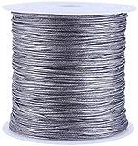 Raguso Gris 100M x 0.8mm Nylon Cordón de Nudo Chino Pulsera de macramé Fabricación de Hilo de ratán Macramé Hilo Cordón de Nylon Cordón DIY Pulseras y Collares Fabricación de Joyas