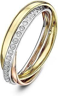 Theia 9 克拉玫瑰、白金和黄金钻石设计 4mm 俄罗斯婚戒