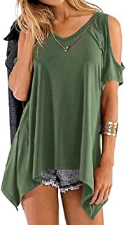 S-Fly Women Loose Plain Cold Shoulder Casual Tunic Short Sleeve Tee Shirts Blouse Top