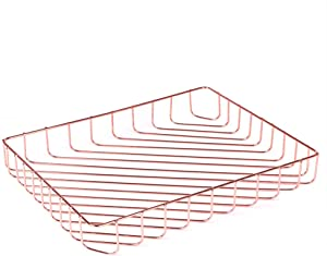 Fvstar Rose Gold File Tray Wire Iron Elegant Letter Size Desk Documents Tray Large Capacity Tabletop Magazine Files Storage Basket Organizer Bins for Home Office Pantry Bedroom,12.5