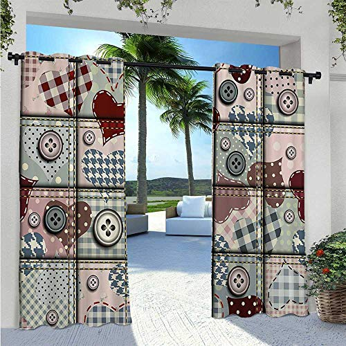 Outdoor Waterproof Curtain Cute Clip Art Print of Heart Figure and Staple Check Patterns Romantic Decor Blackout Patio Outdoor Curtains Pleasing to The Eye, Durable Pink Red W120 x L84 Inch