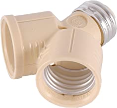 GE Twin, Converts One Bulb Socket into Two, Adapter, Perfect for Workshop, Garage or Utility Room, UL Listed, Light Almond, 54551, Splitter