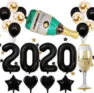 40inch Black 2020 Foil Balloon Champagne Bottle Goblet Confetti Balloons Decoration for New Year's Eve 2020 Graduation Party Supplies 2020 Anniversary Ceremony Supplies (Black)