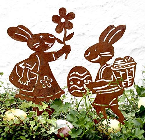 LB H&F Osterstecker Osterhase Osterdeko Metall Gartenstecker Gartendeko Ostern (Osterhase Set lustig)