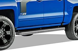 APS iBoard Running Boards 5 inches Custom Fit 2007-2018 Chevy Silverado GMC Sierra & 2019 2500 HD 3500 HD Crew Cab (Exclude 07 Classic)(Include 19 1500 LD) (Nerf Bars Side Steps Side Bars)