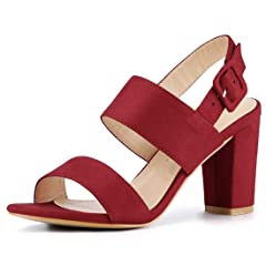 eb41d3be448 Allegra K Women s Open Toe Slingback High Block Heel Sandals