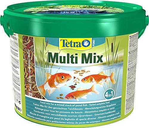 Tetra Pond Multi Mix – Fischfutter für Teichfische mit vier verschiedenen Futtersorten (Flockenfutter, Futtersticks, Gammarus, Wafer), verschiedene Größen