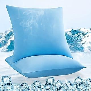 Luxear Chłodząca poszewka na poduszkę, zestaw 2 szt., poszewka na poduszkę, miękka i przepuszczająca powietrze, z zamkiem ...