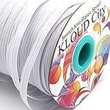 KLOUD City White 70-Yards Length 1/4' Width Braided Elastic Cord, Elastic Band, Elastic Rope, Bungee, Black Heavy Stretch Knit Elastic Spool