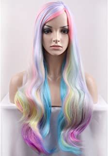 BERON 29.5'' Long Curly Mixed Color Charming Soft Full Wig with Bangs Wig Cap Included (Multi Color)