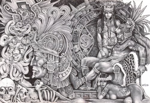 Aztec Dream by Mouse Lopez Black & White Rolled Canvas or Paper Wall Art Print
