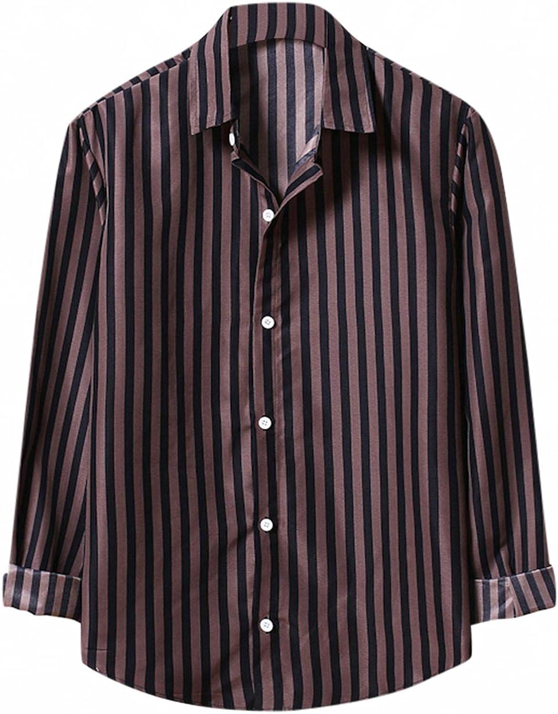 Men's Casual Stripe Dress Shirt Slim Fit Contrast Lapel Long Sleeve Button Down Shirt Plaid Collar Top Blouse