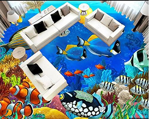Empaque de baldosas autoadhesivas Peces tropicales Delfines Mundo submarino 3D Estéreo Piso de baño 300 * 210 Cm Sala de estar Suelo Dormitorio de bricolaje