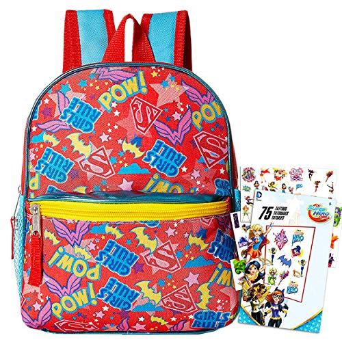 Super Hero Girls Toddler Preschool Backpack - Deluxe 11 Inch Superhero Mini Backpack Featuring Supergirl and Batgirl Logos