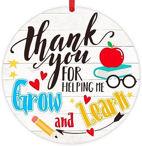FaCraft Teacher Gifts,Teacher Appreciation Gifts for Women,Thank You for Helping me Grow Ornament Gifts for Teacher, Valentines Day Gifts for Teacher,Thank You Gift for Teacher from Students
