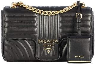 Women's Leather Medium Diagramme Shoulder Handbag Black