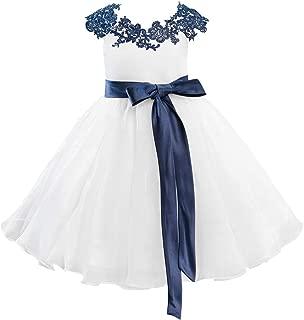 Navy Blue Lace Ivory Organza Wedding Flower Girl Dress Kids Party Dress