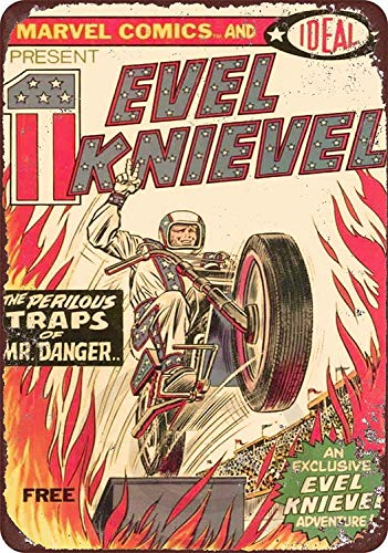 Vintage Tin Sign Evel Knievel Comic Book Art Decoration Retro Metal Poster for Home Cabin Bar Store Club Farm 12' X 8'