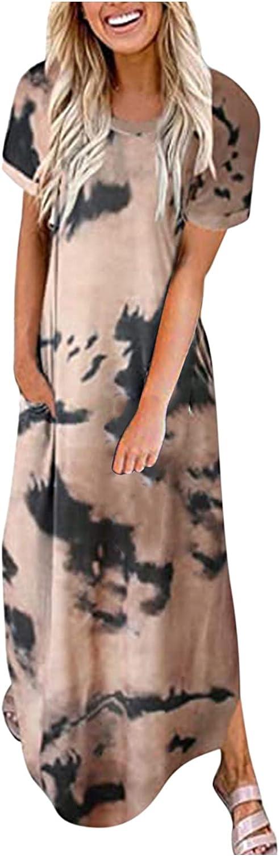 Jinjin2 Women's Long Dress, Beach Dress Casual Boho Maxidress Print Summer Dress Crew Neck Short Sleeve