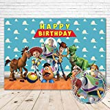 Toy Story Background Happy Birthday 7x5 Blue Sky Andys Room Toy Story 4 Backdrop for Birthday Party Vinyl Backdrops Toy Story Party Decorations for Kids