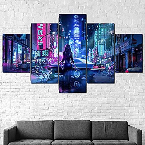 QMCVCDD 5 Piezas De Pared Fotos Cuadros En Lienzorick Morty Cielo Estrellado Luna HD Imprimir Modern Artwork Decoración De Arte De Pared Living Room Moderno Cuadro En Lienzo 5 Piezas