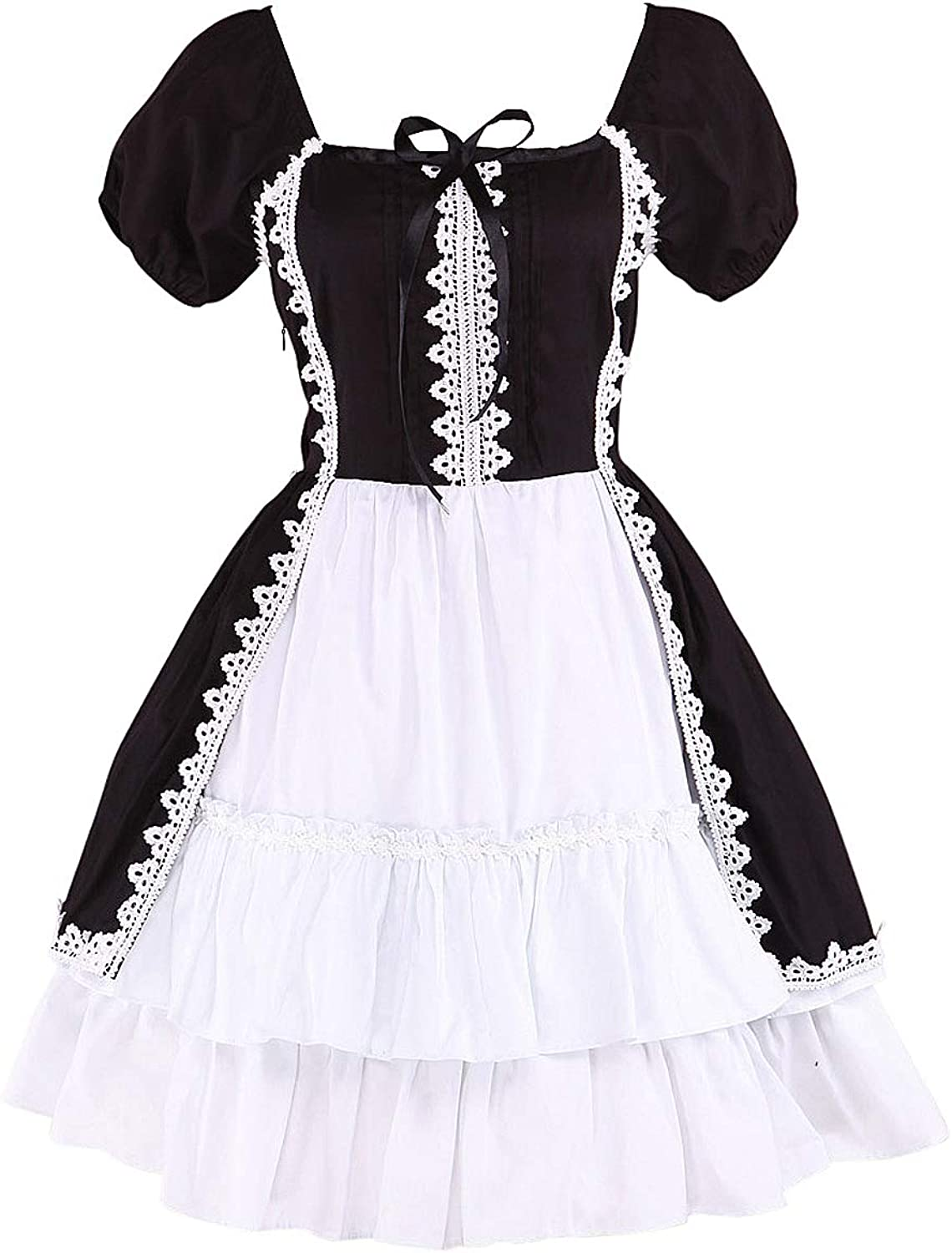 Antaina Black and White Cotton Lace Ruffle Sexy Gohtic Lolita Cosplay Dress
