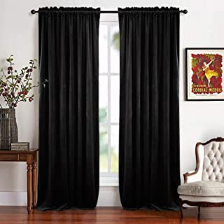 RYB HOME Black Velvet Curtains - Thick Fabric Classic Window Treatment Panels Rod Pocket Pleated Design Energy Saving Winter Thermal Insulation for Living Room Bedroom Ceremony, 52 x 108, 2 Pieces