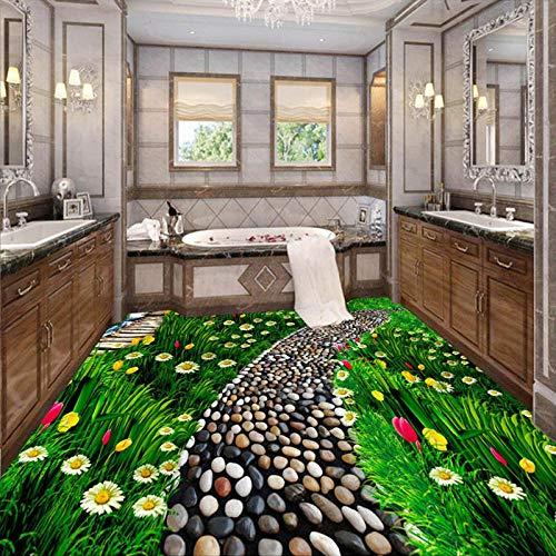 Benutzerdefinierte 3D-Bodenfliesen tragen rutschfeste Wandgemälde Pastoral Path Flower Photo Flooring Wallpaper Schlafzimmer Badezimmer Modern-400 * 300cm