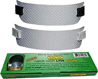 Quality Time Neck Hair Line DELUXE - 2 Templates for Shaving and Keeping a Clean and Curved or Straight Neck Hairline: A Stencil for Neckline Haircut, Do-it-yourself