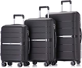 Luggage Sets 3 Piece Hardside and Lightweight Suitcase Spinner with Built-In TSA Lock Carry on 20 inch 24 inch 28 inch with Double Spinner Wheels (Charcoal)