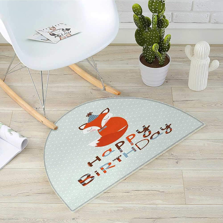 Birthday Half Round Door mats Cute Fox Sleeping on Dotted Backdrop with Greeting Happy Message Bathroom Mat H 39.3  xD 59  Almond Green orange White