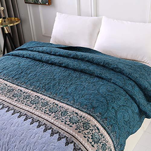 Topmail Tagesdecke 150 x 200 cm Einzelbett Blau Grün Schlafzimmer Bettüberwurf Komfort und Weich Sofaüberwurf 100% Polyester Atmungsaktive Gesteppte Decke