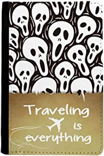 Skull Tiling Pattern Halloween Traveling quato Passport Holder Travel Wallet Cover Case Card Purse