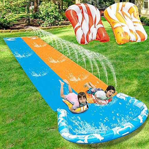 JOYIN 20ft x 62in Slip and Slide Water Slide with 2 Bodyboards, Summer Toy with Build in Sprinkler for Backyard and Outdoor Water Toys Play
