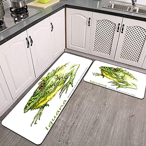2 Piezas Alfombrillas de Cocina,Iguana Acuarela sobre Fondo Blanco Animal exótico Antideslizante Alfombra para Puerta de Baño Juego de alfombras Cocina Lavables