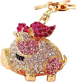 Reizteko Gold-Toned Crystal Rhinestone Pig Keychain Pendant Keychain Charms Gift (Pink)