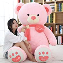Happy Island Big Giant Cute Plush Teddy Bear, Scarf i Love You Heart, Huge Plush Animals Girl Children Girlfriend Valentine's Day (Pink, 31inch)