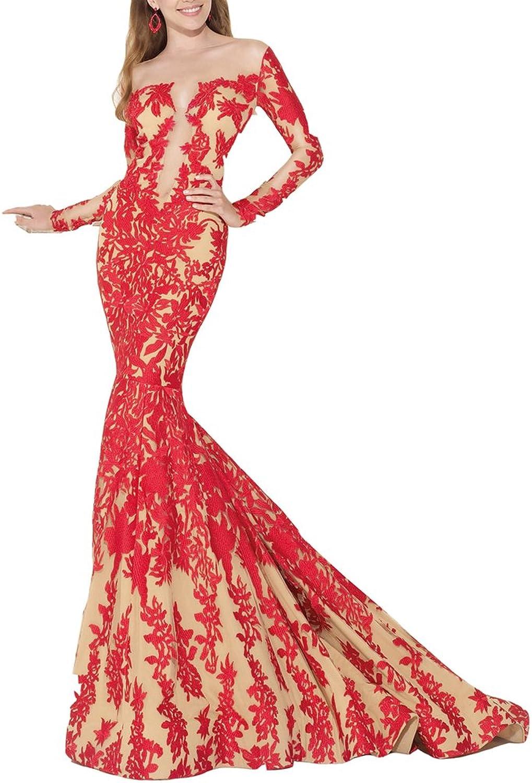 Emmani Women's Mermaid Bateau Lace Applique Winter Evening Dresses